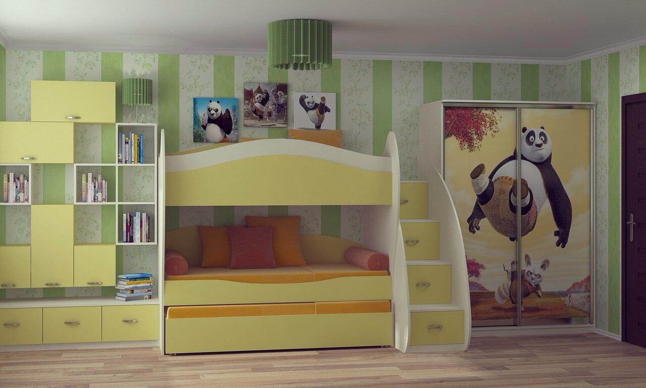 Детский уголок_3 с двухъярусной кроватью купить детская мебе.