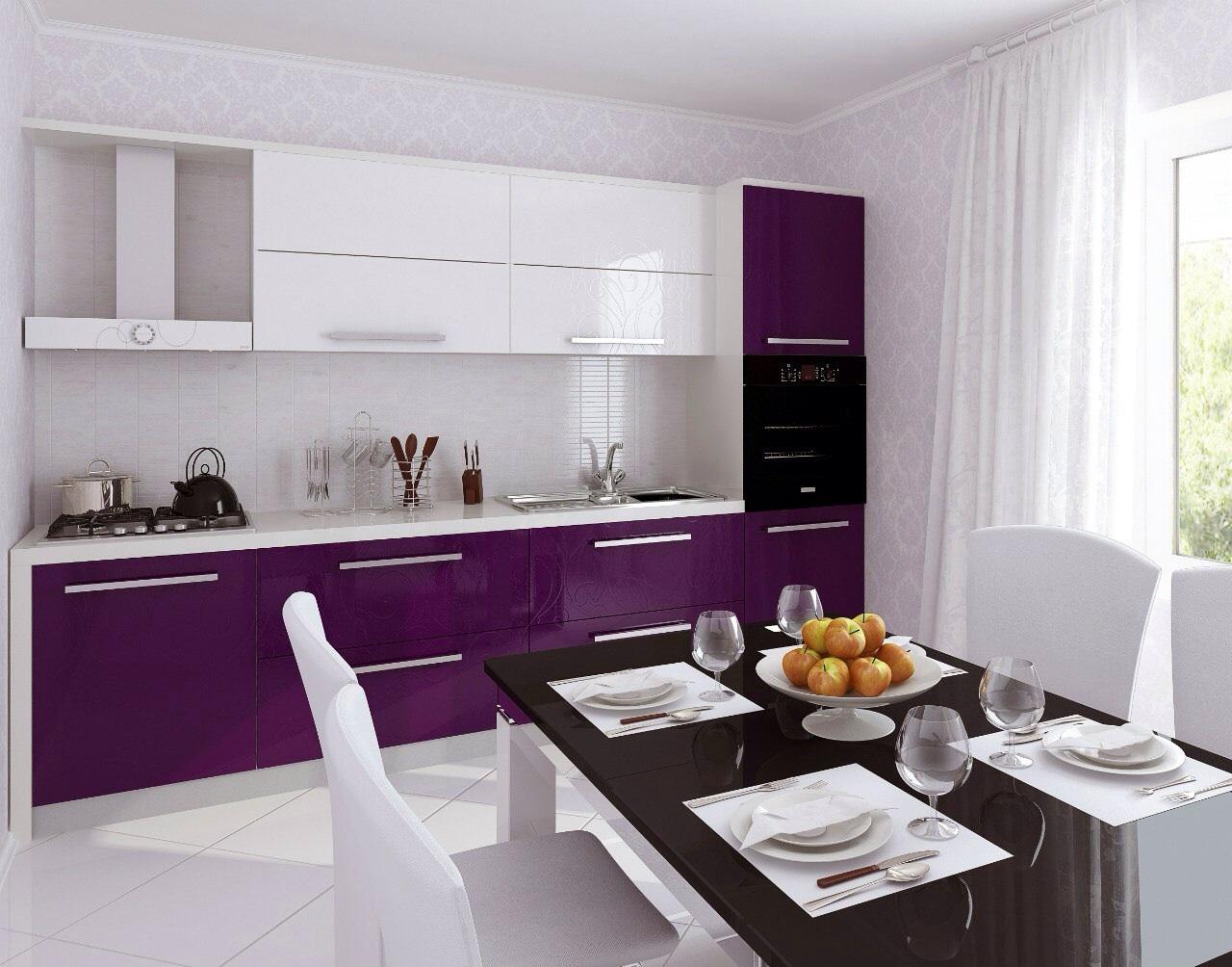 Дизайн кухни фиолетовая с белым